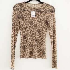 Sheer Long-Sleeve Shirt w/ Floral Detail